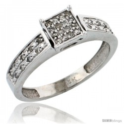 14k White Gold Diamond Engagement Ring, w/ 0.14 Carat Brilliant Cut Diamonds, 5/32 in. (4mm) wide -Style Ljw203er