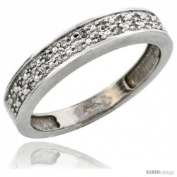 14k White Gold Ladies' Diamond Band, w/ 0.10 Carat Brilliant Cut Diamonds, 5/32 in. (4mm) wide -Style Ljw203lb