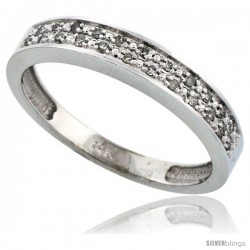 14k White Gold Men's Diamond Band, w/ 0.10 Carat Brilliant Cut Diamonds, 5/32 in. (4mm) wide -Style Ljw203mb