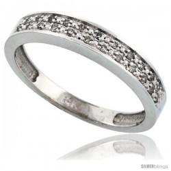 14k White Gold Men's Diamond Band, w/ 0.10 Carat Brilliant Cut Diamonds, 5/32 in. (4mm) wide -Style Ljw203mb