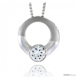 "High Polished Sterling Silver 11/16"" (17 mm) Round Pendant Slide, w/ 6mm Brilliant Cut CZ Stone, w/ 18"" Thin Box Chain"