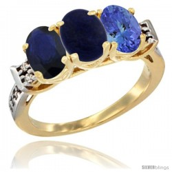 10K Yellow Gold Natural Blue Sapphire, Lapis & Tanzanite Ring 3-Stone Oval 7x5 mm Diamond Accent