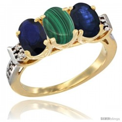 10K Yellow Gold Natural Malachite & Blue Sapphire Sides Ring 3-Stone Oval 7x5 mm Diamond Accent