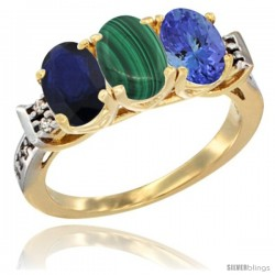 10K Yellow Gold Natural Blue Sapphire, Malachite & Tanzanite Ring 3-Stone Oval 7x5 mm Diamond Accent
