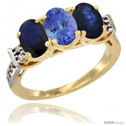 10K Yellow Gold Natural Tanzanite & Blue Sapphire Sides Ring 3-Stone Oval 7x5 mm Diamond Accent