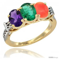 10K Yellow Gold Natural Amethyst, Emerald & Coral Ring 3-Stone Oval 7x5 mm Diamond Accent