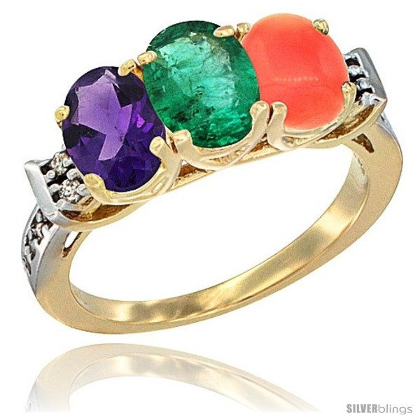 https://www.silverblings.com/78859-thickbox_default/10k-yellow-gold-natural-amethyst-emerald-coral-ring-3-stone-oval-7x5-mm-diamond-accent.jpg