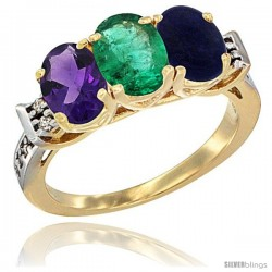 10K Yellow Gold Natural Amethyst, Emerald & Lapis Ring 3-Stone Oval 7x5 mm Diamond Accent