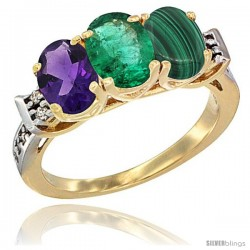 10K Yellow Gold Natural Amethyst, Emerald & Malachite Ring 3-Stone Oval 7x5 mm Diamond Accent