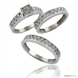 14k White Gold 3-Piece Trio His (4mm) & Hers (4mm) Diamond Wedding Band Set, w/ 0.34 Carat Brilliant Cut -Style Ljw203w3