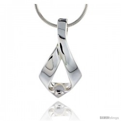 """High Polished Sterling Silver 1"""" (26 mm) tall Loop Pendant, w/ 18"""" Thin Box Chain"""