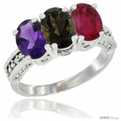 14K White Gold Natural Amethyst, Smoky Topaz & Ruby Ring 3-Stone 7x5 mm Oval Diamond Accent