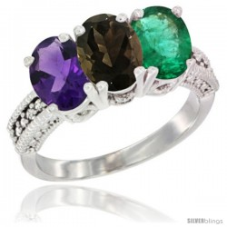 14K White Gold Natural Amethyst, Smoky Topaz & Emerald Ring 3-Stone 7x5 mm Oval Diamond Accent