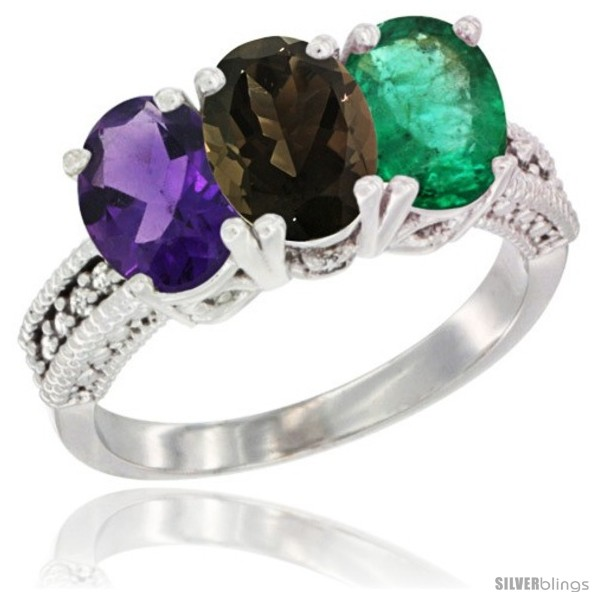 https://www.silverblings.com/78879-thickbox_default/14k-white-gold-natural-amethyst-smoky-topaz-emerald-ring-3-stone-7x5-mm-oval-diamond-accent.jpg
