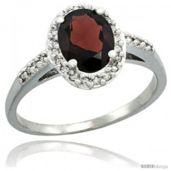 Sterling Silver Diamond Natural Garnet Ring Oval Stone 8x6 mm 1.17 ct 3/8 in wide