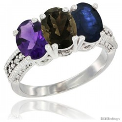 14K White Gold Natural Amethyst, Smoky Topaz & Blue Sapphire Ring 3-Stone 7x5 mm Oval Diamond Accent