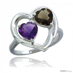 14k White Gold 2-Stone Heart Ring 6mm Natural Amethyst & Smoky Topaz Diamond Accent