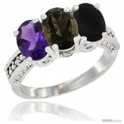 14K White Gold Natural Amethyst, Smoky Topaz & Black Onyx Ring 3-Stone 7x5 mm Oval Diamond Accent