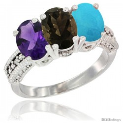 14K White Gold Natural Amethyst, Smoky Topaz & Turquoise Ring 3-Stone 7x5 mm Oval Diamond Accent
