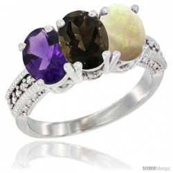 14K White Gold Natural Amethyst, Smoky Topaz & Opal Ring 3-Stone 7x5 mm Oval Diamond Accent