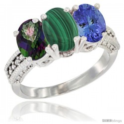 14K White Gold Natural Mystic Topaz, Malachite & Tanzanite Ring 3-Stone 7x5 mm Oval Diamond Accent