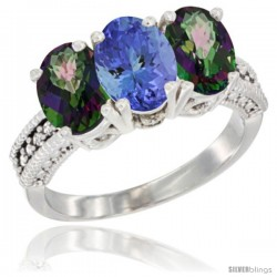 14K White Gold Natural Tanzanite & Mystic Topaz Sides Ring 3-Stone 7x5 mm Oval Diamond Accent