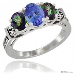 14K White Gold Natural Tanzanite & Mystic Topaz Ring 3-Stone Oval with Diamond Accent