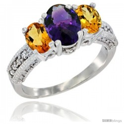 14k White Gold Ladies Oval Natural Amethyst 3-Stone Ring with Citrine Sides Diamond Accent