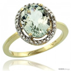 10k Yellow Gold Diamond Green-Amethyst Ring 2.4 ct Oval Stone 10x8 mm, 1/2 in wide -Style Cy902114