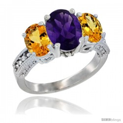 14K White Gold Ladies 3-Stone Oval Natural Amethyst Ring with Citrine Sides Diamond Accent