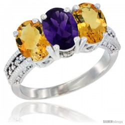 14K White Gold Natural Amethyst & Citrine Sides Ring 3-Stone 7x5 mm Oval Diamond Accent