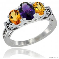 14K White Gold Natural Amethyst & Citrine Ring 3-Stone Oval with Diamond Accent