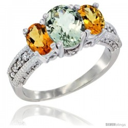 14k White Gold Ladies Oval Natural Green Amethyst 3-Stone Ring with Citrine Sides Diamond Accent