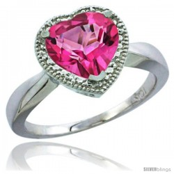 10K White Gold Natural Pink Topaz Ring Heart-shape 8x8 Stone Diamond Accent