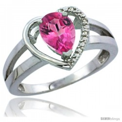 10K White Gold Natural Pink Topaz Ring Heart-shape 5 mm Stone Diamond Accent