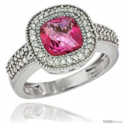 10K White Gold Natural Pink Topaz Ring Cushion-cut 7x7 Stone Diamond Accent