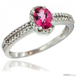 10K White Gold Natural Pink Topaz Ring Oval 6x4 Stone Diamond Accent -Style Cw906178