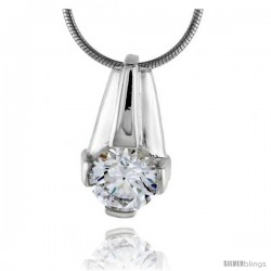 "High Polished Sterling Silver 3/4"" (19 mm) tall Pendant Enhancer, w/ 8mm Brilliant Cut CZ Stone, w/ 18"" Thin Box Chain"