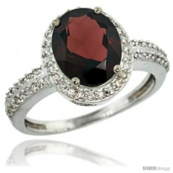 Sterling Silver Diamond Natural Garnet Ring Oval Stone 10x8 mm 2.4 ct 1/2 in wide