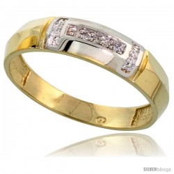 Gold Plated Sterling Silver Mens Diamond Wedding Band, 7/32 in wide