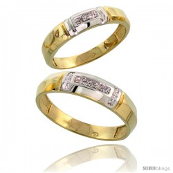Gold Plated Sterling Silver Diamond 2 Piece Wedding Ring Set His 5.5mm & Hers 4mm