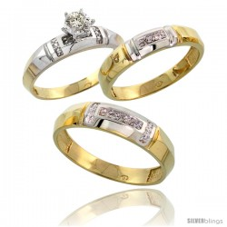 Gold Plated Sterling Silver Diamond Trio Wedding Ring Set His 5.5mm & Hers 4mm