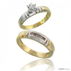Gold Plated Sterling Silver 2-Piece Diamond Wedding Engagement Ring Set for Him & Her, 4mm & 5.5mm wide -Style Agy123em