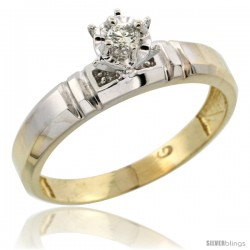 Gold Plated Sterling Silver Diamond Engagement Ring, 5/32 in wide -Style Agy123er