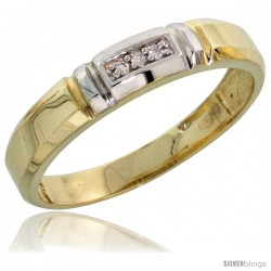 Gold Plated Sterling Silver Ladies Diamond Wedding Band, 5/32 in wide -Style Agy123lb