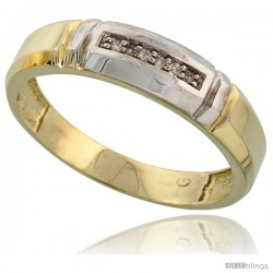 Gold Plated Sterling Silver Mens Diamond Wedding Band, 7/32 in wide -Style Agy123mb