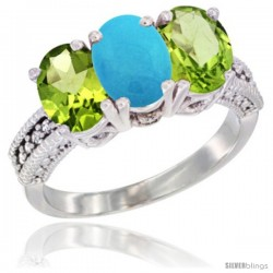 10K White Gold Natural Turquoise & Peridot Sides Ring 3-Stone Oval 7x5 mm Diamond Accent