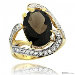 14k Gold Natural Smoky Topaz Ring Oval 14x10 Diamond Accent, 3/4 in wide