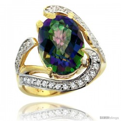 14k Gold Natural Mystic Topaz Ring Oval 14x10 Diamond Accent, 3/4 in wide