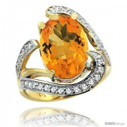 14k Gold Natural Citrine Ring Oval 14x10 Diamond Accent, 3/4 in wide